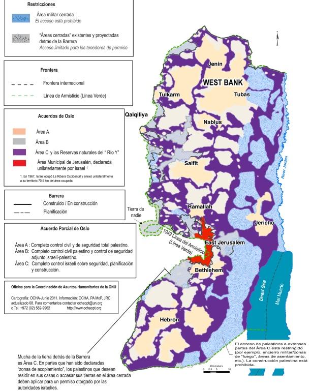 Mapa de las limitaciones de movimiento de palestinos