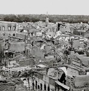 El barrio cristiano de Damasco después de la masacre drusa en 1860