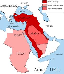 El Imperio Otomano en 1914 al comienzo de la guerra